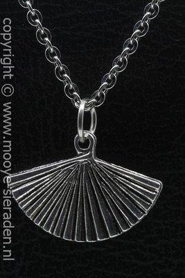 Waaier ketting hanger Zilvermetaal