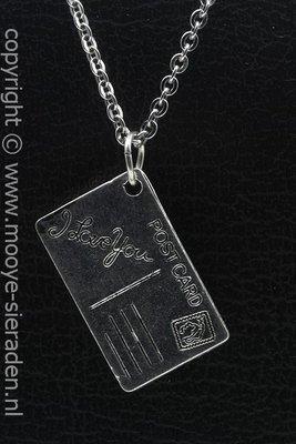 Ansichtkaart I Love You ketting hanger Zilvermetaal