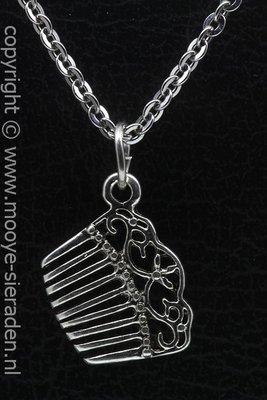 Kam bewerkt ketting hanger Zilvermetaal