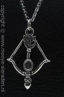 Pijl en boog ketting hanger Zilvermetaal