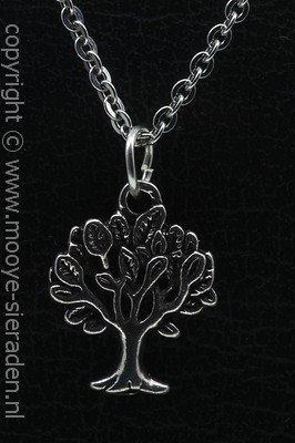 Levensboom ketting hanger Zilvermetaal