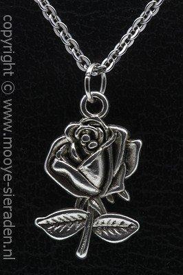 Roos met blad ketting hanger Zilvermetaal