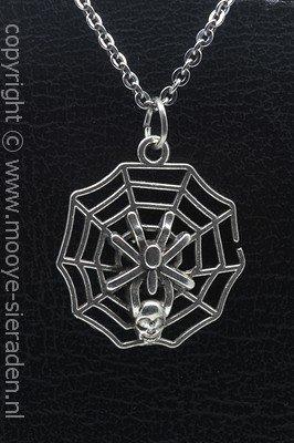 Spin in web ketting hanger Zilvermetaal