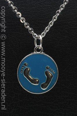Babyvoetjes blauw ketting hanger Zilvermetaal