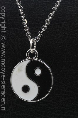 Yin Yang ketting hanger Zilvermetaal