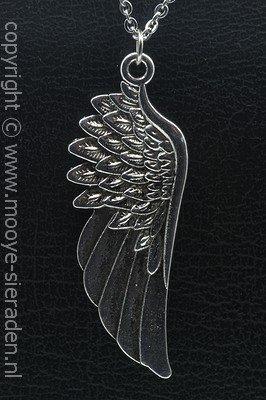 Engelvleugel XL ketting hanger Zilvermetaal