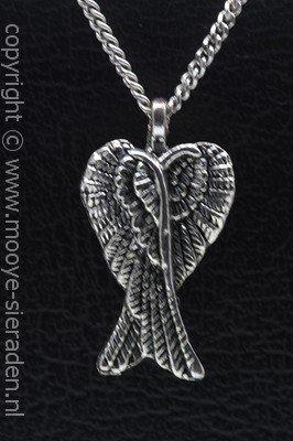 Engelvleugel dubbel ketting hanger Zilvermetaal
