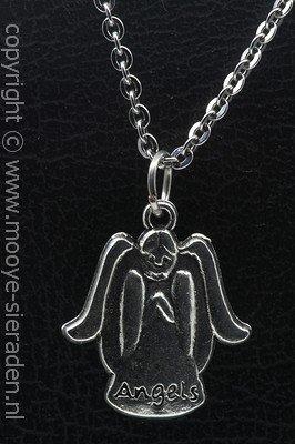 Engel met tekst angels ketting hanger Zilvermetaal