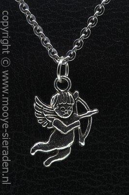 Cupido ketting hanger Zilvermetaal