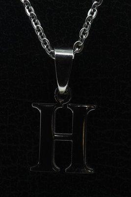 RVS Letter H ketting hanger - edelstaal