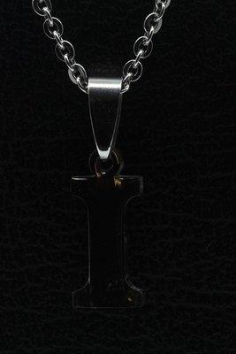 RVS Letter I ketting hanger - edelstaal