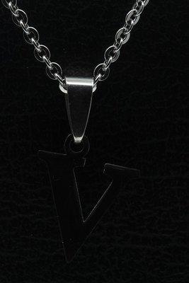 RVS Letter V ketting hanger - edelstaal