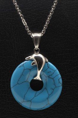 RVS Dolfijn met turquoise ring ketting hanger - edelstaal