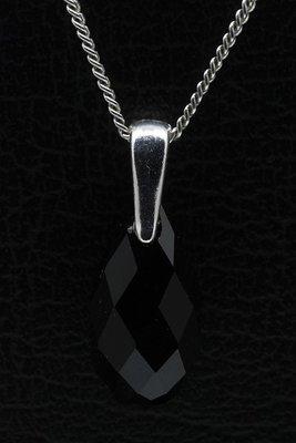 Swarovski kristal Briolette black ketting hanger - middel