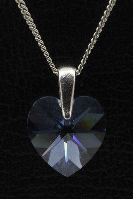 Swarovski kristal Heart sapphire ketting hanger