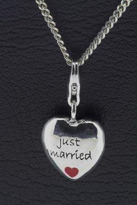 Zilveren Hart Just Married hanger en bedel