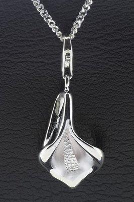 Zilveren Calla bloem hanger én bedel