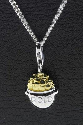 Zilveren Pot met goud hanger én bedel