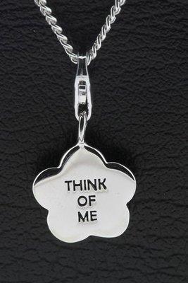 Zilveren Bloem met tekst Think of me hanger én bedel