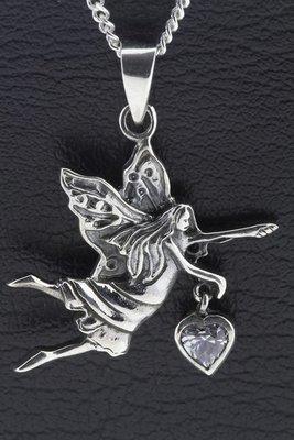 Zilveren Engel met helder kristal hart ketting hanger