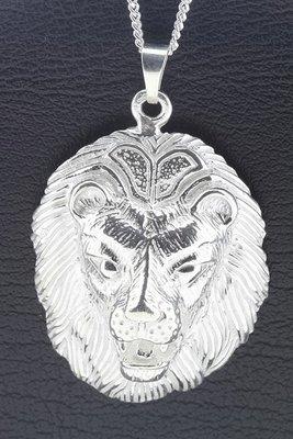 Zilveren Leeuwenkop ketting hanger - groot