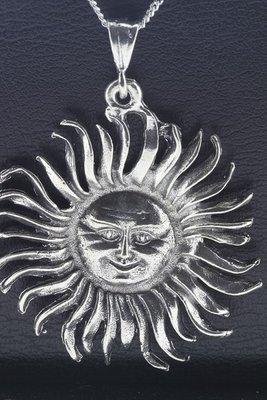 Zilveren Zon XL ketting hanger