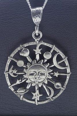 Zilveren Zon, maan en sterren XL ketting hanger