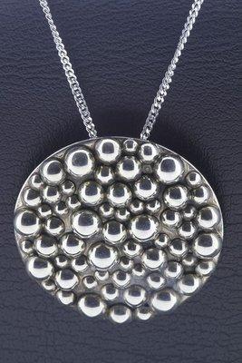 Zilveren Rond met bolletjes XL ketting hanger