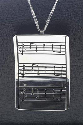 Zilveren Muzieknoten gebogen XL ketting hanger
