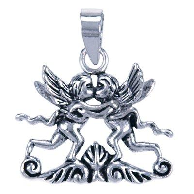Zilveren Cupido's kussend ketting hanger