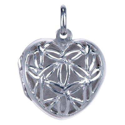 Zilveren Foto medaillon Hart opengewerkt 1 foto ketting hanger