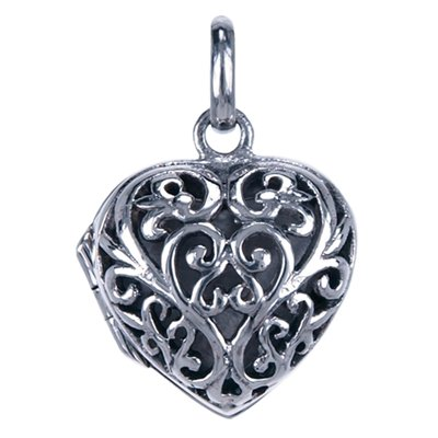 Zilveren Foto medaillon Hart klein opengewerkt 1 foto ketting hanger