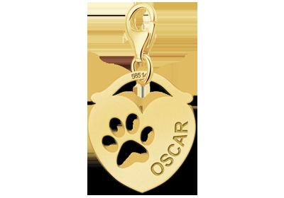 Gouden Graveerplaatje hart met hondenpoot : Dingo