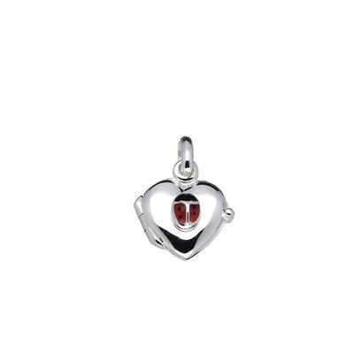 Zilveren Foto medaillon hart met lieveheersbeestje hanger - klein