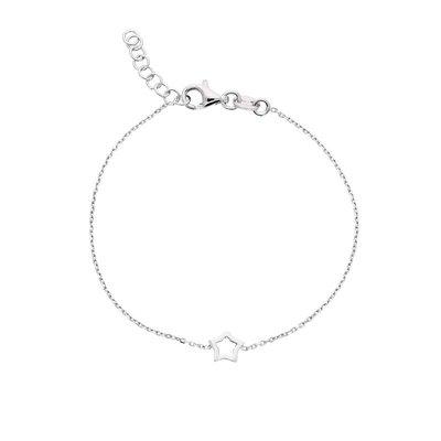 Zilveren Kinderarmband met open ster 15-17 cm