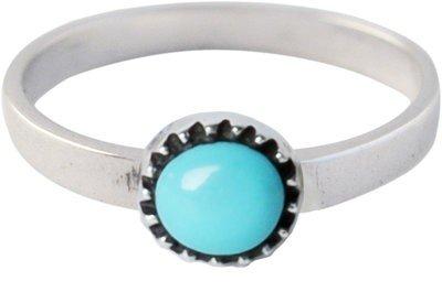Zilveren Kinder ring maat 13 t/m 15 mm. met ronde turquoise steen