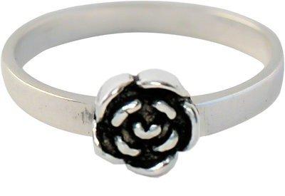 Zilveren Kinder ring maat 13 t/m 15 mm. met zilveren roos