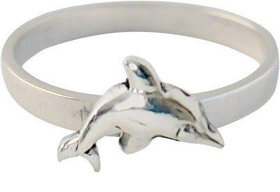 Zilveren Kinder ring maat 13 t/m 15 mm. met dolfijn