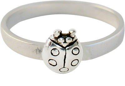 Zilveren Kinder ring maat 13 t/m 15 mm. met Lieveheersbeestje
