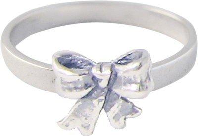 Zilveren Kinder ring maat 13 t/m 15 mm. met Strik