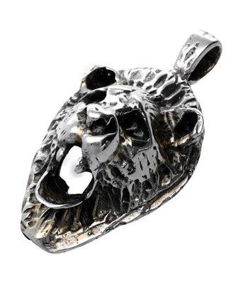 Zilveren Leeuwenkop smal 3D kettinghanger