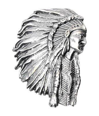Zilveren Indiaan met tooi XL kettinghanger