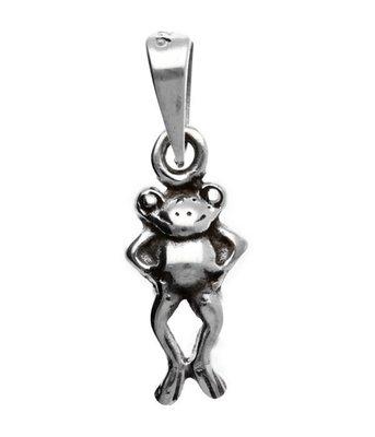 Zilveren Kikker staand kettinghanger