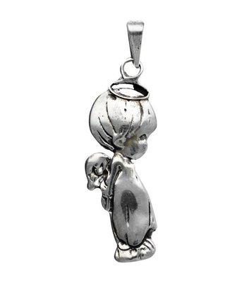Zilveren Kindje engel groot kettinghanger