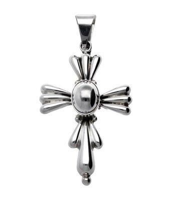 Zilveren Kruis 3D XL kettinghanger