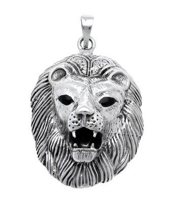 Zilveren Leeuwenkop XL kettinghanger