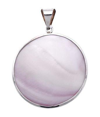 Zilveren Rond met parelmoer roze XL kettinghanger