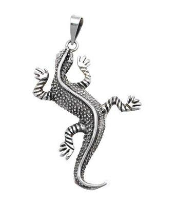 Zilveren Salamander Gekko XL kettinghanger