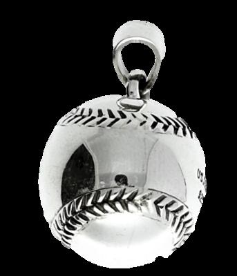 Zilveren Honkbal groot massief kettinghanger