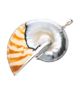 Zilveren Nautilus schelp XL kettinghanger